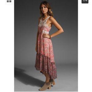 Free People Printed Chiffon Native Rose Maxi Dress